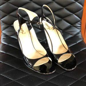 YSL stiletto patent sandals 40.5
